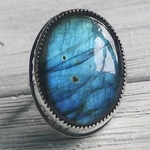 Labradorite Mantra/Yoga Ring